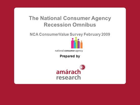 The National Consumer Agency Recession Omnibus NCA ConsumerValue Survey February 2009 Prepared by.
