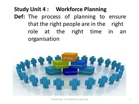 HR Saturday - SU 4 Workforce planning1 Study Unit 4 : Workforce Planning Def: The process of planning to ensure that the right people are in the right.