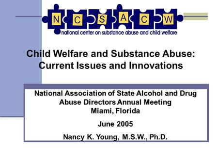 Child Welfare and Substance Abuse: Current Issues and Innovations National Association of State Alcohol and Drug Abuse Directors Annual Meeting Miami,