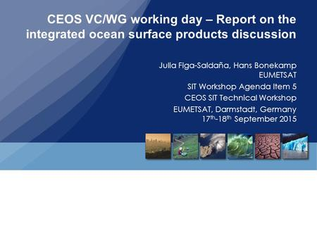 CEOS VC/WG working day – Report on the integrated ocean surface products discussion Julia Figa-Saldaña, Hans Bonekamp EUMETSAT SIT Workshop Agenda Item.