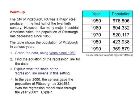 YearPopulation 1950676,806 1960604,332 1970520,117 1980423,938 1990369,879 Source:  The city of Pittsburgh, PA was.
