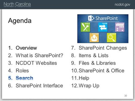 Agenda 30 7.SharePoint Changes 8.Items & Lists 9.Files & Libraries 10.SharePoint & Office 11.Help 12.Wrap Up.