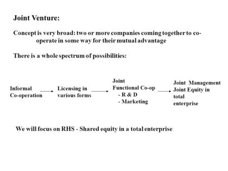 Joint Venture: Concept is very broad: two or more companies coming together to co- operate in some way for their mutual advantage There is a whole spectrum.