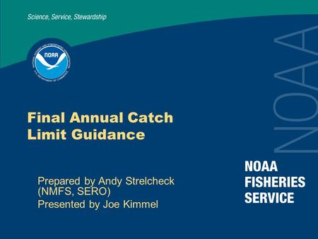 Final Annual Catch Limit Guidance Prepared by Andy Strelcheck (NMFS, SERO) Presented by Joe Kimmel.