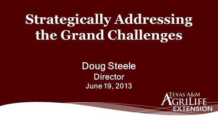 Doug Steele Director June 19, 2013 Strategically Addressing the Grand Challenges.