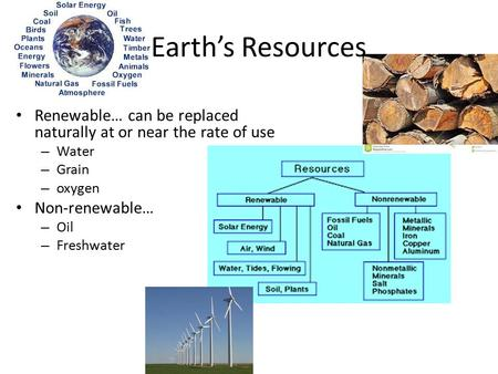 Earth's Resources Renewable… can be replaced naturally at or near the rate of use – Water – Grain – oxygen Non-renewable… – Oil – Freshwater.