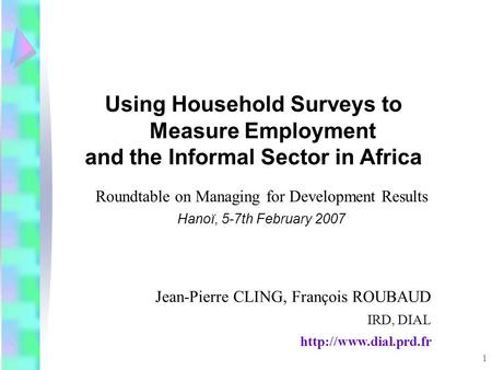 1 Roundtable on Managing for Development Results Hanoï, 5-7th February 2007 Using Household Surveys to Measure Employment and the Informal Sector in Africa.