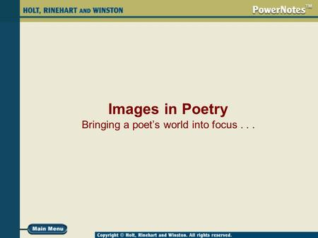 Images in Poetry Bringing a poet's world into focus...