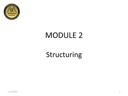 MODULE 2 Structuring 11 Oct 2009. CHRM Life Cycle 1 Oct 20092 Planning Structuring Acquiring Developing Sustaining You are here.
