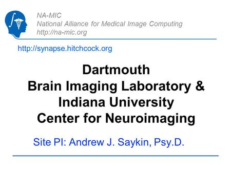 NA-MIC National Alliance for Medical Image Computing  Dartmouth Brain Imaging Laboratory & Indiana University Center for Neuroimaging.