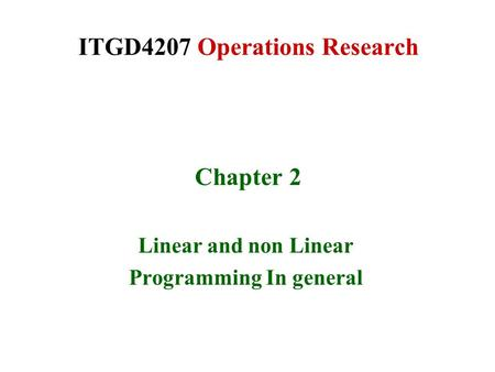 ITGD4207 Operations Research