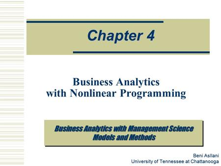 Business Analytics with Nonlinear Programming