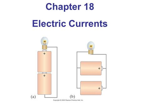 Chapter 18 Electric Currents. Objectives After studying the material of this chapter, the student should be able to: Use the equations for electric power.