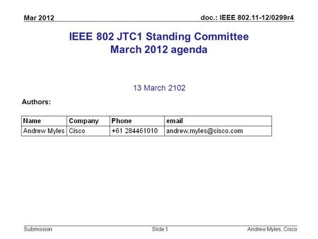 <strong>Doc</strong>.: IEEE 802.11-12/0299r4 Submission Mar 2012 Andrew Myles, CiscoSlide 1 IEEE 802 JTC1 Standing Committee March 2012 agenda 13 March 2102 Authors: