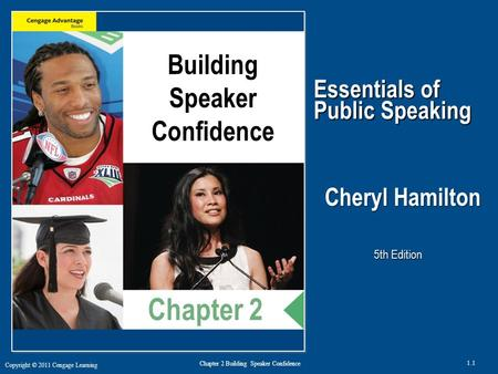 Copyright © 2011 Cengage Learning 1.1 Chapter 2 Building Speaker Confidence Essentials of Public Speaking Cheryl Hamilton, Ph.D. 5th Edition Building Speaker.
