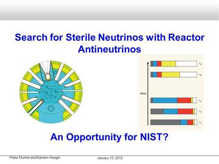 Pieter Mumm and Karsten Heeger January 10, 2012 Search for Sterile Neutrinos with Reactor Antineutrinos An Opportunity for NIST?
