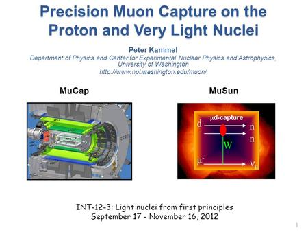 Precision Muon Capture on the Proton and Very Light Nuclei 1 Peter Kammel Department of Physics and Center for Experimental Nuclear Physics and Astrophysics,
