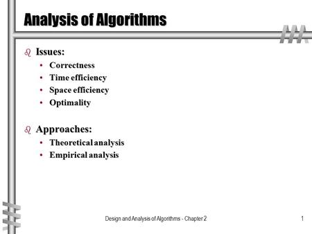 Design and Analysis of Algorithms - Chapter 21 Analysis of Algorithms b Issues: CorrectnessCorrectness Time efficiencyTime efficiency Space efficiencySpace.