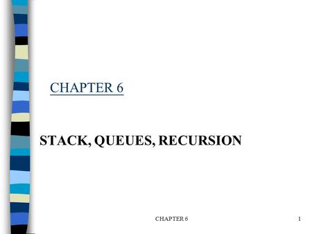 CHAPTER 61 STACK, QUEUES, RECURSION. Introduction when one wants to restrict insertion and deletion so that they can take place only at the beginning.