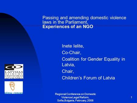 Regional Conference on Domestic Violence Legal Reform, Sofia,Bulgaria, February, 2008 1 Passing and amending domestic violence laws in the Parliament.