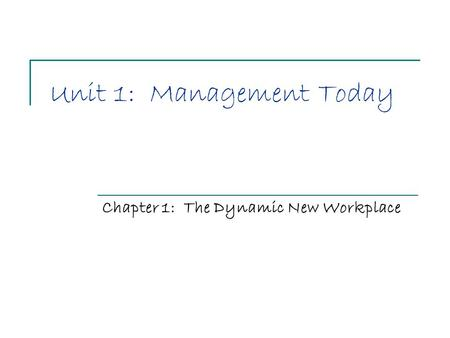 Unit 1: Management Today Chapter 1: The Dynamic New Workplace.