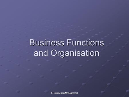 IB Business & Management Business Functions and Organisation.