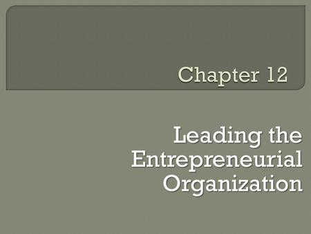 Leading the Entrepreneurial Organization. E  Entrepreneurial initiatives are driven by individuals but the practice of corporate entrepreneurship is.