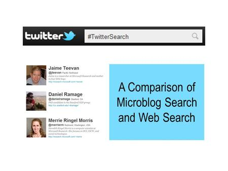 A Comparison of Microblog Search and Web Search.