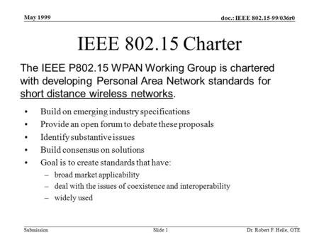 Doc.: IEEE 802.15-99/036r0 Submission May 1999 Dr. Robert F. Heile, GTESlide 1 IEEE 802.15 Charter Build on emerging industry specifications Provide an.