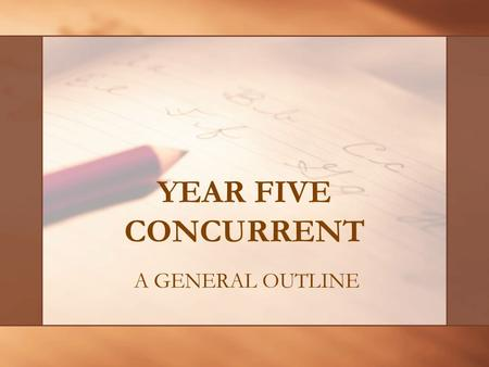 YEAR FIVE CONCURRENT A GENERAL OUTLINE. YOUR CLASSES Primary/Junior Division EDUC4133 Observation & Practice Teaching (13 weeks) EDUC 4244 Visual Arts.