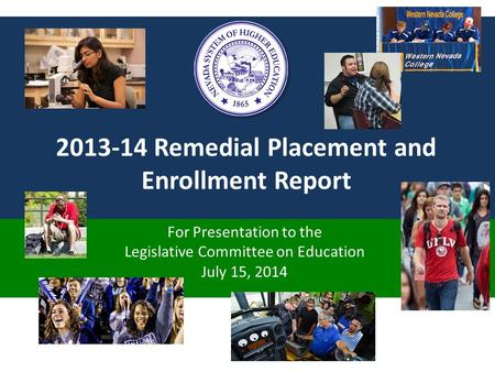 2013-14 Remedial Placement and Enrollment Report For Presentation to the Legislative Committee on Education July 15, 2014.