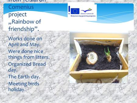 Works done on April and May. Were done nice things from litters. Organized Bread day. The Earth day. Meeting birds holiday. Lithuanian team from Telsiai.
