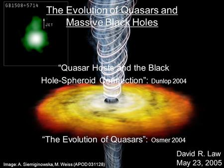 "The Evolution of Quasars and Massive Black Holes ""Quasar Hosts and the Black Hole-Spheroid Connection"": Dunlop 2004 ""The Evolution of Quasars"": Osmer 2004."