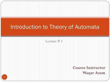 Introduction to Theory of Automata