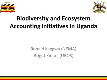 Biodiversity and Ecosystem Accounting Initiatives in Uganda Ronald Kaggwa (NEMA) Bright Kimuli (UBOS)