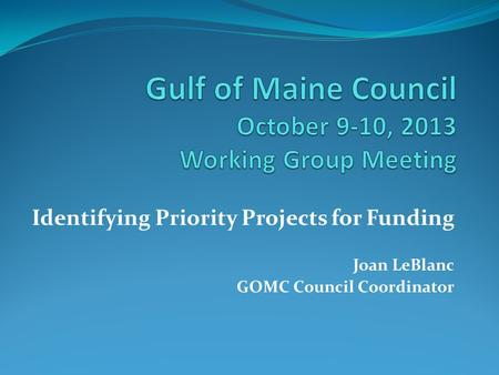 Identifying Priority Projects for Funding Joan LeBlanc GOMC Council Coordinator.