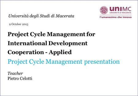 Project Cycle Management presentation