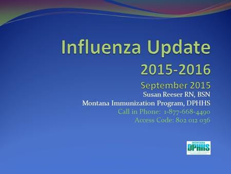 Influenza Update September 2015