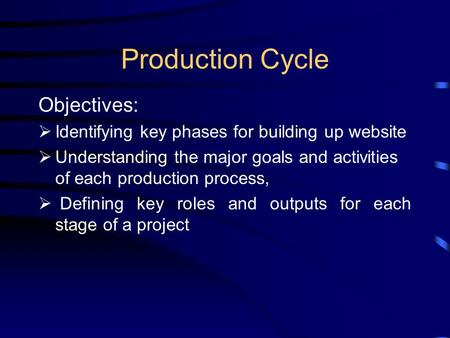 Production Cycle Objectives:  Identifying key phases for building up website  Understanding the major goals and activities of each production process,