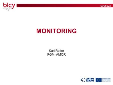 Www.bicy.it MONITORING Karl Reiter FGM- AMOR. www.bicy.it Why should we monitor? What do we want to know? What will we do with the data collected?