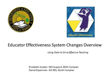 Educator Effectiveness System Changes Overview Using Data to Drive Effective Teaching Elizabeth Ayotte – EES Support, BKM Complex Daniel Espaniola – EO.