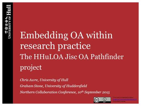 Embedding OA within research practice The HHuLOA Jisc OA Pathfinder project Chris Awre, University of Hull Graham Stone, University of Huddersfield Northern.