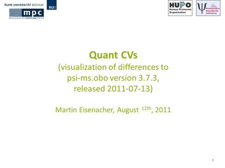 1 Quant CVs (visualization of differences to psi-ms.obo version 3.7.3, released 2011-07-13) Martin Eisenacher, August 12th, 2011.