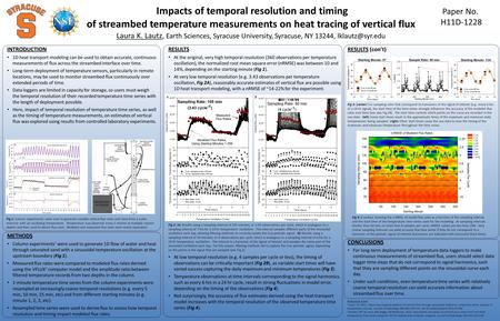 Impacts of temporal resolution and timing of streambed temperature measurements on heat tracing of vertical flux Paper No. H11D-1228 INTRODUCTION 1D heat.