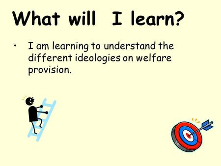 What will I learn? I am learning to understand the different ideologies on welfare provision.