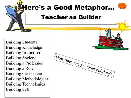 Here's a Good Metaphor… Teacher as Builder Building Students Building Knowledge Building Institutions Building Society Building a Profession Building.