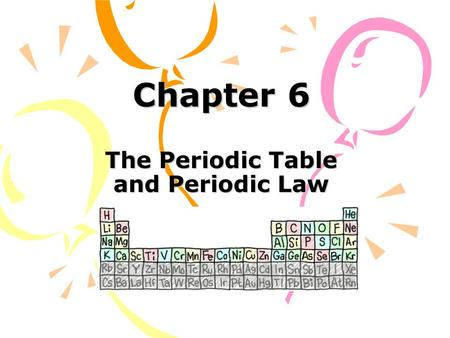 Chapter 6 The Periodic Table and Periodic Law. Section 6.1 Development of the Modern Periodic Table.