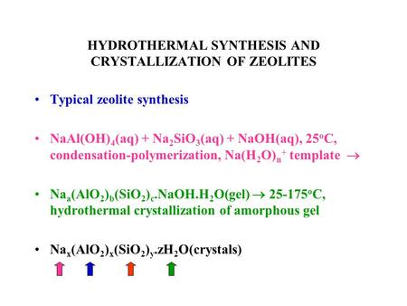 HYDROTHERMAL SYNTHESIS AND CRYSTALLIZATION OF ZEOLITES Typical zeolite synthesis NaAl(OH) 4 (aq) + Na 2 SiO 3 (aq) + NaOH(aq), 25 o C, condensation-polymerization,
