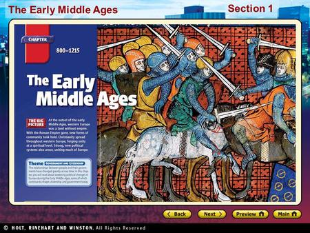 The Early Middle Ages Section 1. The Early Middle Ages Section 1 Preview Starting Points Map: Europe Main Idea / Reading Focus Building an Empire A New.