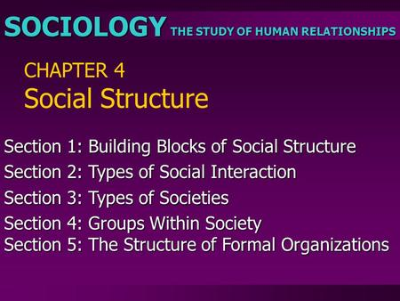 THE STUDY OF HUMAN RELATIONSHIPS SOCIOLOGY CHAPTER 4 Social Structure Section 1: Building Blocks of Social Structure Section 2: Types of Social Interaction.